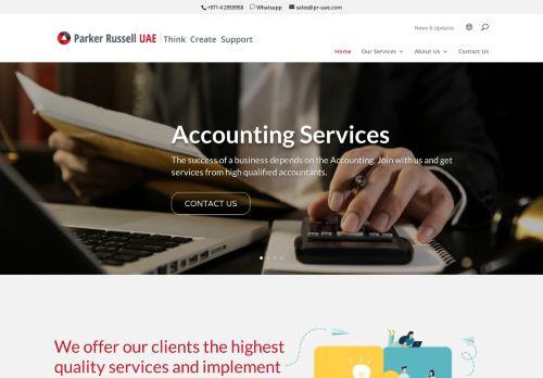 لقطة شاشة لموقع Audit Firms in Dubai | Parker Russell UAE بتاريخ 09/04/2021 بواسطة دليل مواقع روكيني