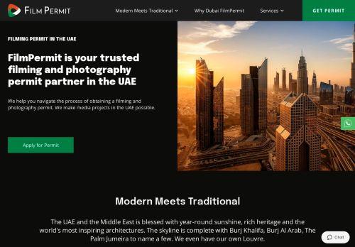 لقطة شاشة لموقع Dubai film permit بتاريخ 19/07/2021 بواسطة دليل مواقع روكيني