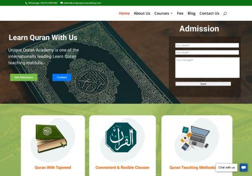 لقطة شاشة لموقع Unique Quran Academy - Online Quran teaching institute بتاريخ 08/08/2020 بواسطة دليل مواقع روكيني