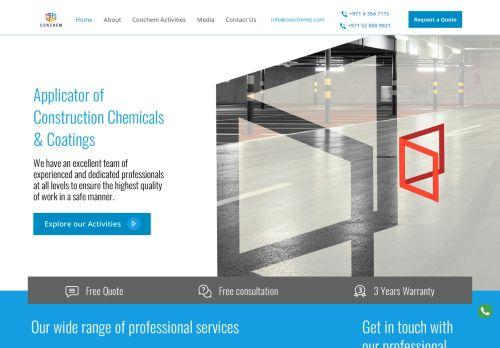 لقطة شاشة لموقع CONCHEM للخدمات التقنية بتاريخ 22/10/2020 بواسطة دليل مواقع روكيني